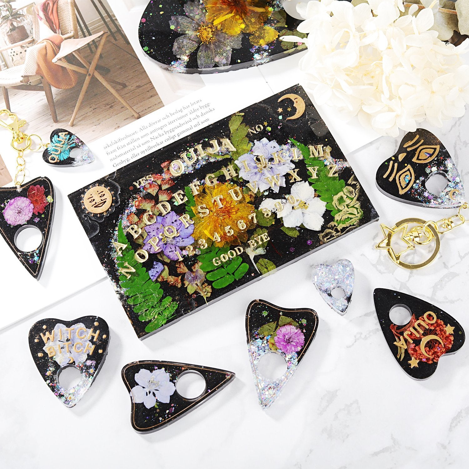 Making Decoration 2PCS Epoxy Molds with 14 Shapes for Resin Crafts DIY LETS RESIN Ouija Board Resin Molds and Planchette Silicone Molds for Resin
