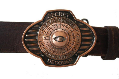 3D Western Bronze Secret Encoder Decoder Spinner Belt Buckle