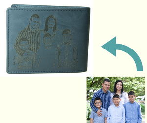 Personalized Blue men's Small Slim Trifold Genuine Leather Wallet Coins Card Bill - United Split
