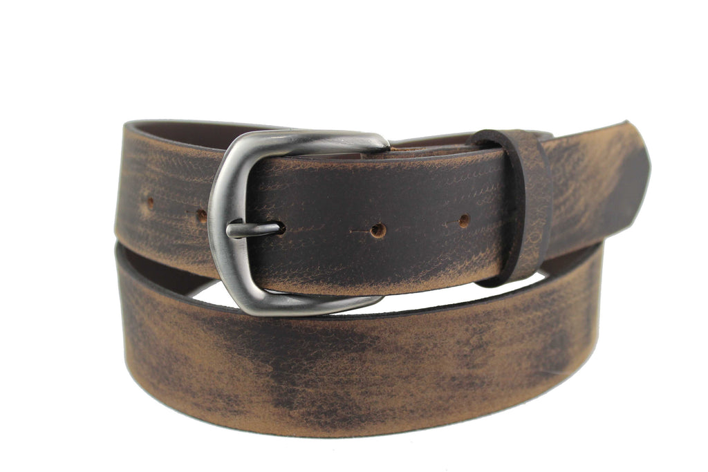 Men's Belt Genuine Leather Brown Handmade  Worn-Style Classic Buckle Silver Bronze 2101