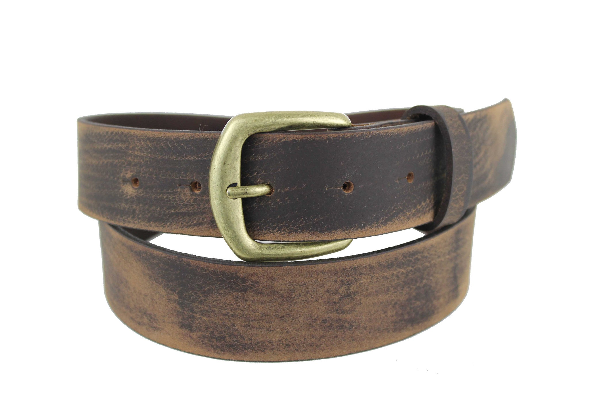 Men's Belt Genuine Leather Brown Handmade  Worn-Style Classic Buckle Silver Bronze 2101 - United Split