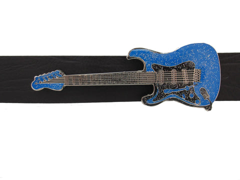 A Spectacular Blue Glitter Guitar Belt Buckle
