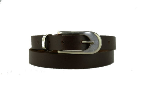 Woman Chic Skinny Brown Leather Belt