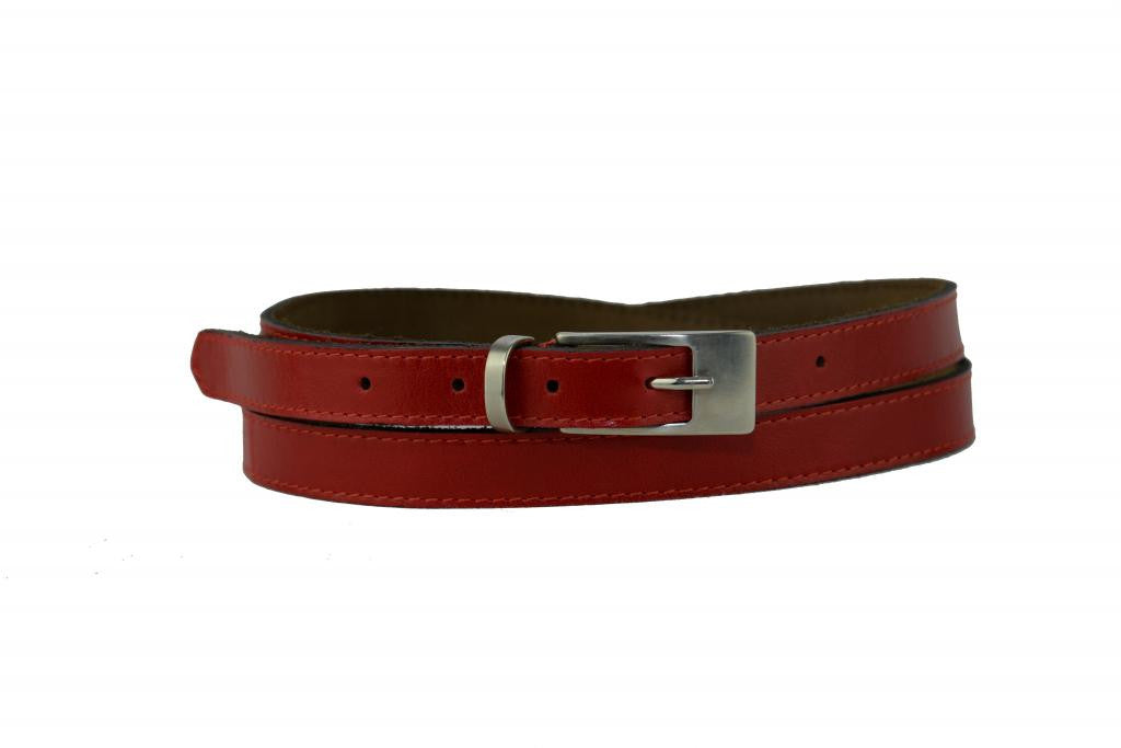 Woman Skinny Red Leather Belt