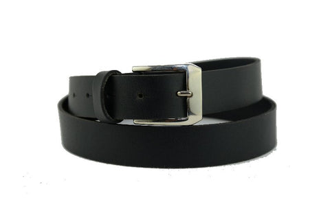 Skinny Black Leather Belt 6100