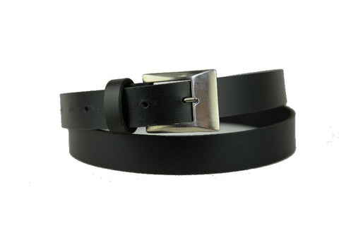 Mans Thin Black Leather Belt 8100
