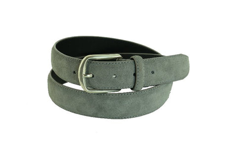 Grey Suede Full-Grain Leather Belt For Men