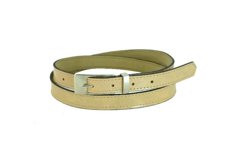 Woman Skinny Beige Leather Belt