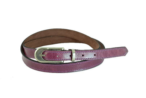 Woman Skinny Purple Leather Belt