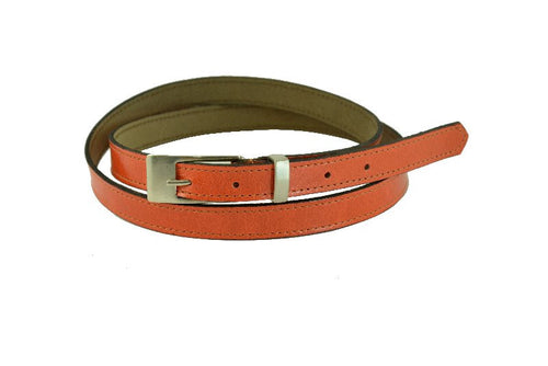 Woman Skinny Orange Leather Belt