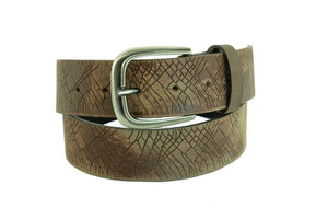 Men's Brown Leather Belt Extra Wide Distorted Imprinted 5152