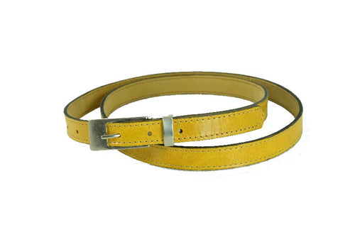 Woman Skinny Yellow Leather Belt