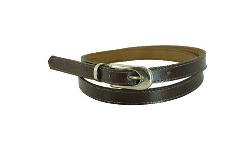 Woman Skinny Brown With Stitch Leather Belt