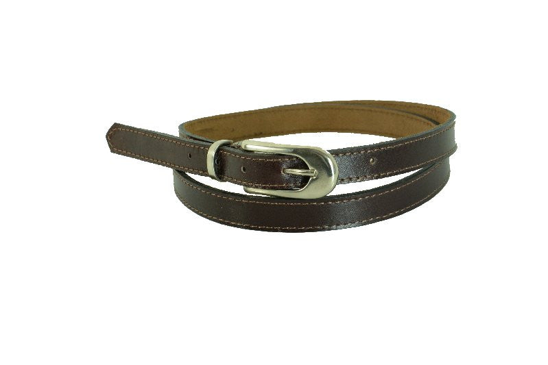 Woman Skinny Brown With Stitch Leather Belt - United Split