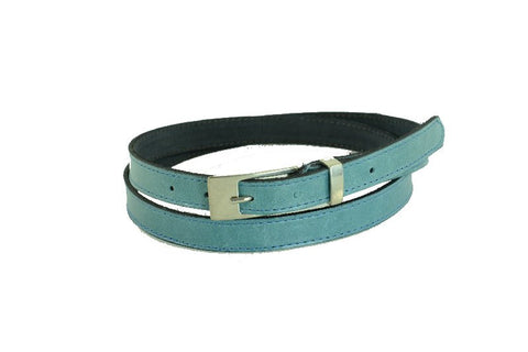 Woman Skinny light blue Leather Belt