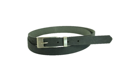 Woman Skinny Grey Leather Belt