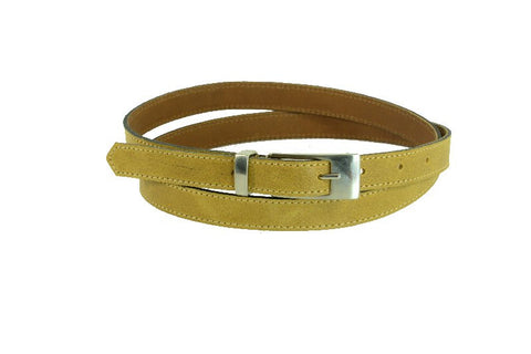 Woman Skinny Mustard Yellow Leather Belt