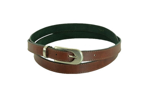 Woman Skinny Dark Brown with Stitch Leather Belt