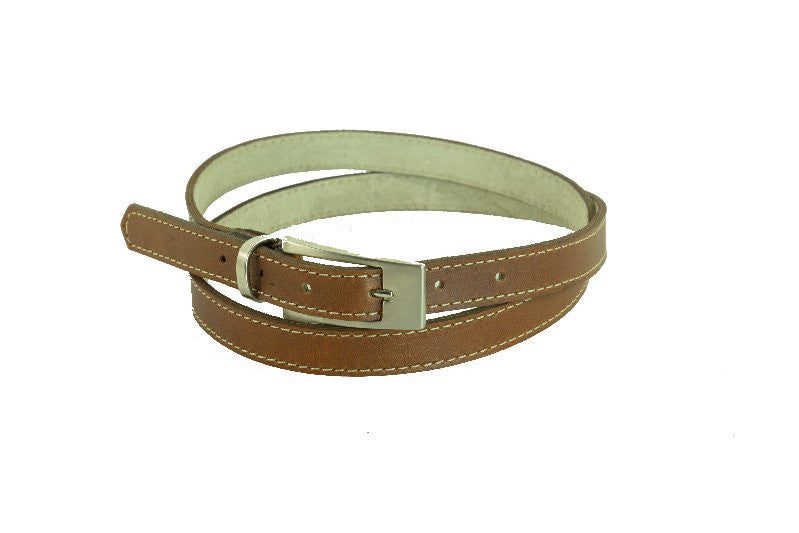 Woman Skinny Stitch Brown Leather Belt