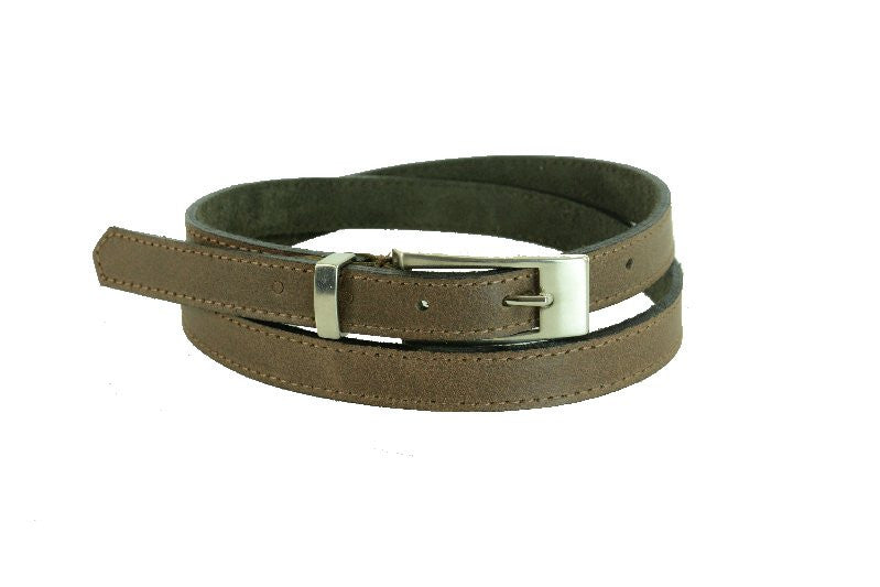 Woman Skinny Mid Brown with Stitch  Leather Belt - United Split