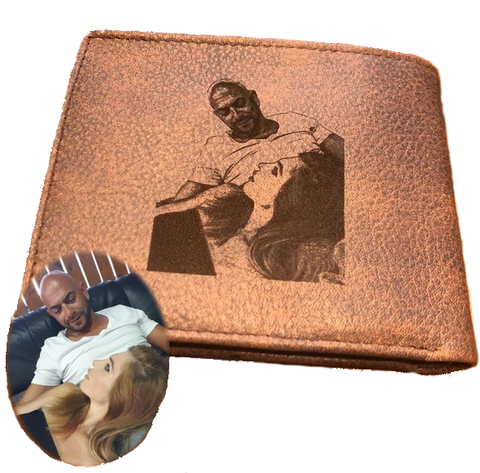 Personalized wallet Custom Photo Wallet Leather Wallet Anniversary Gift For Men model G bluish Africa