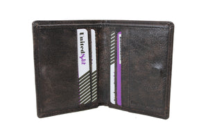 Mens Small Slim Genuine Leather Wallet Bifold Purses Credit Card Passport Holder Non Coins Magnet Closer 9650 - United Split