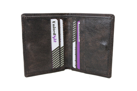 Mens Small Slim Genuine Leather Wallet Bifold Purses Credit Card Passport Holder Non Coins Magnet Closer 9650