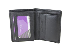 Men's Small Black Wallet Trifold Genuine Leather ID Cards Window Coins Pocket Money