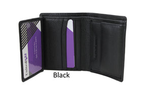 Men's Small Black Wallet Trifold Genuine Leather ID Cards Window Coins Pocket Money - United Split