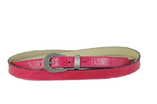 Woman Skinny Pink Leather Belt