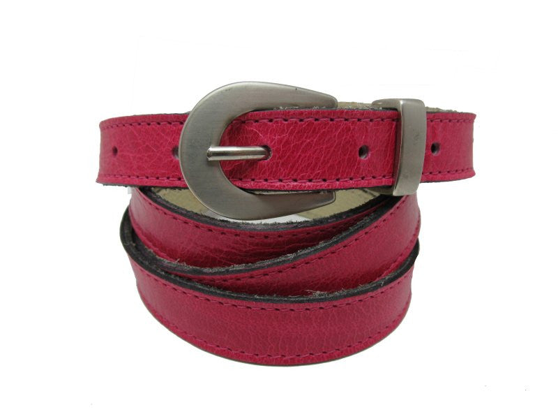 Woman Skinny Pink Leather Belt - United Split