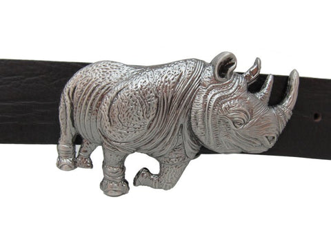 Western Cattle Rhino Belt Buckle