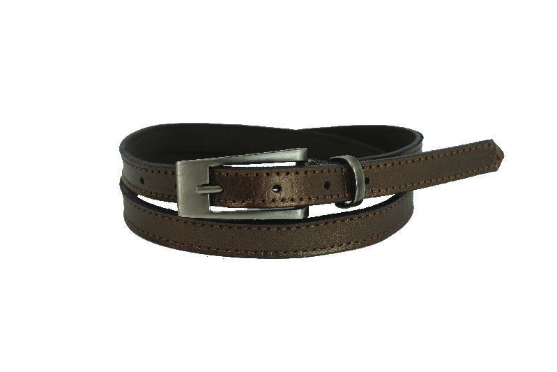Woman Skinny Dark Gold Leather Belt - United Split