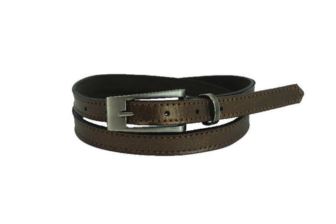 Woman Skinny Dark Gold Leather Belt