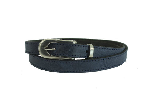 Woman Skinny Dark Blue Leather Belt