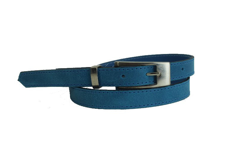 Woman Skinny Sky Blue Leather Belt