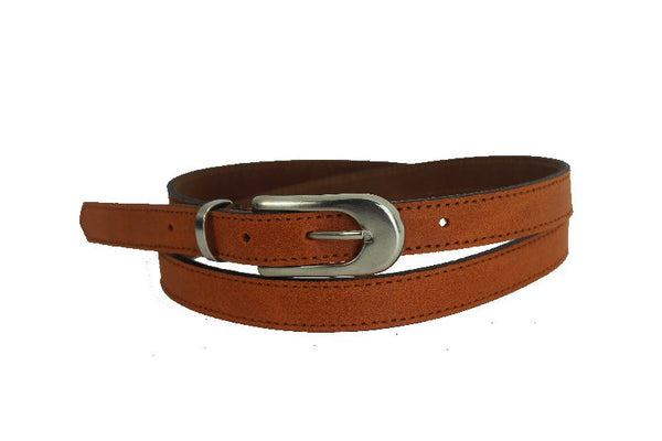 Woman Skinny matt Orange Leather Belt