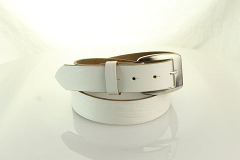 White Leather Belt 3104