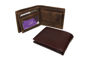 Men's Large Trifold Genuine Leather Wallet Coins Pocket Card Money Bill Fold Zipper New Color Option 9654 - United Split