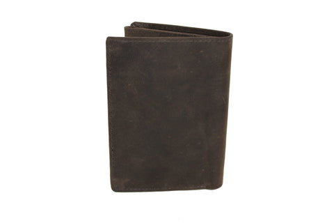 Men's Large Quarter Fold Leather Wallet Card Coins Bill 9652