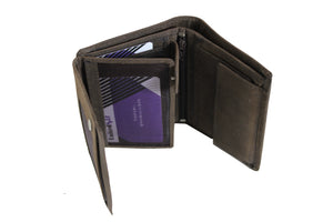 Men's Large Quarter Fold Leather Wallet Card Coins Bill 9652 - United Split