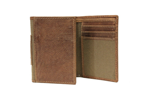 Men's Medium Trifold Non-Coins Brown Wallet Genuine Leather 62238