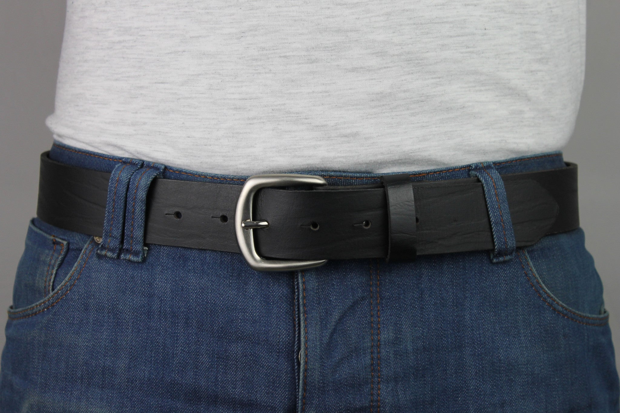 Mens Leather Belts For Jeans Best Casual Belts Fullgrain Handmade Leather 1101 - United Split