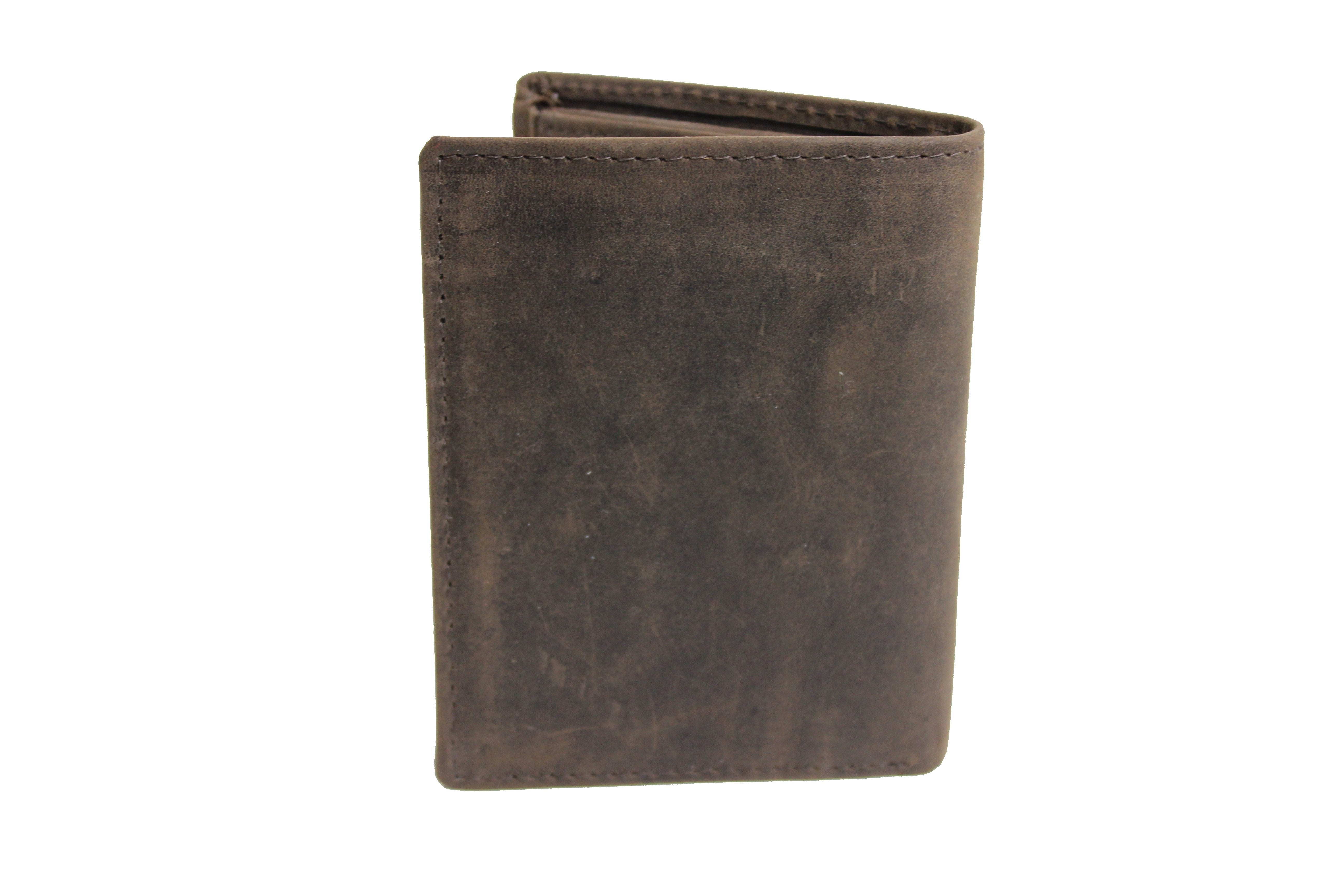 picture on wallet Personalized Dark Brown men's Small Slim Trifold Leather Wallet