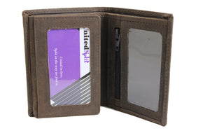 Personalized Dark Brown men's Small Slim Trifold Genuine Leather Wallet Coins Card Bill - United Split
