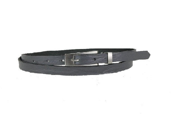 Woman Skinny Gray Leather Belt - United Split