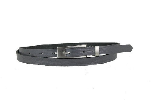 Woman Skinny Gray Leather Belt