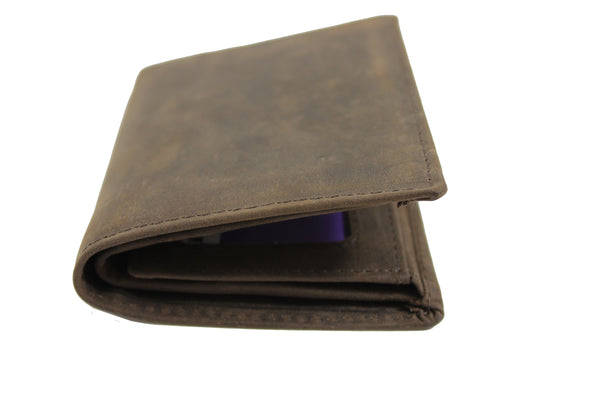 Men's Small Slim Trifold Genuine Leather Wallet Coins Card Bill 9706