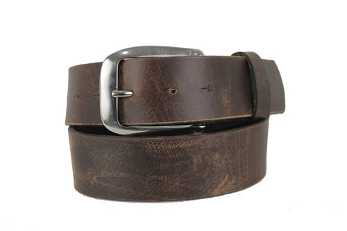 Men's Brown Genuine Leather Belt  Extra Wide Distorted 1.7