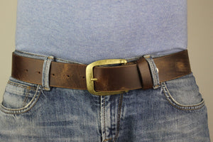 "Men's Brown Genuine Leather Belt  Extra Wide Distorted 1.7"" inch 4cm XL XXL 5102"